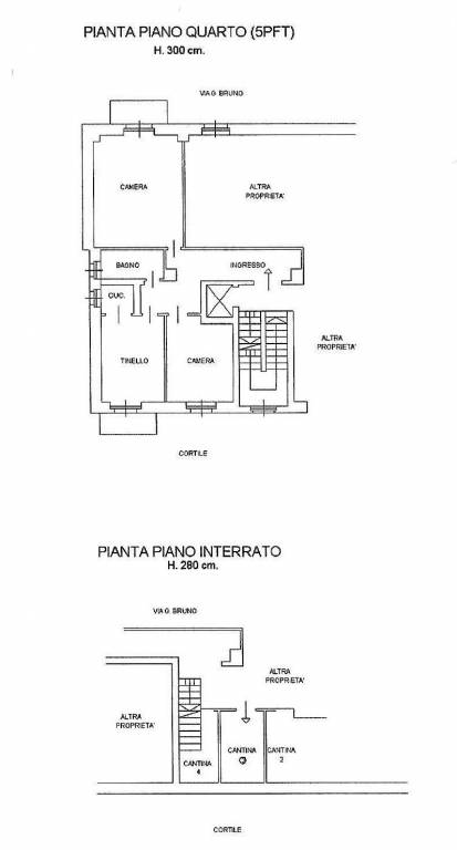 foto Planimetria Trilocale via Giordano Bruno 76, Torino