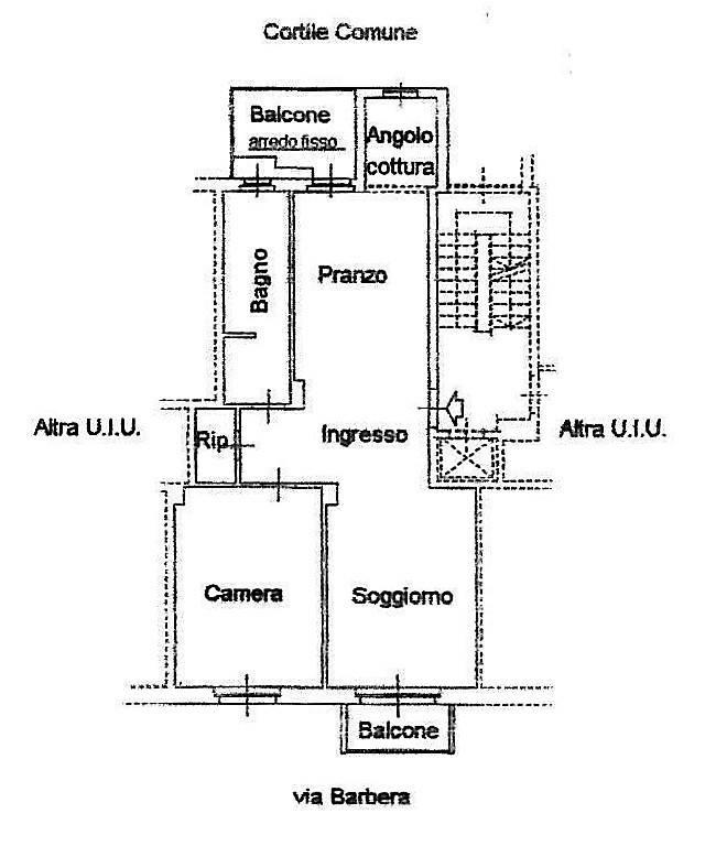foto Planimetria Trilocale via Gaspero Barbera 63, Torino