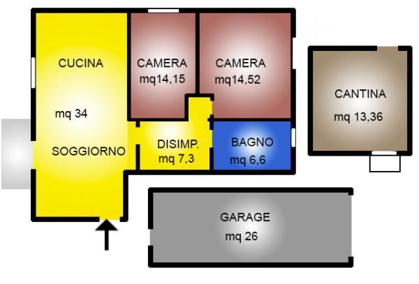 foto planimetria Trilocale via Monte Lungo, Arcugnano