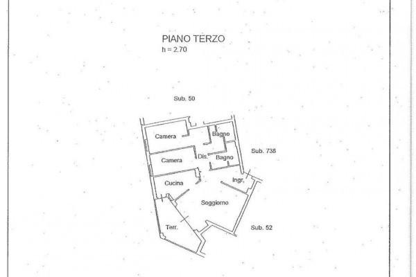foto Planimetria Trilocale ottimo stato, terzo piano, Bergamo