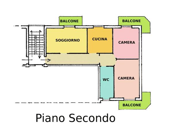 foto Piano secondo Trilocale via Giuseppe Grilloni, Como