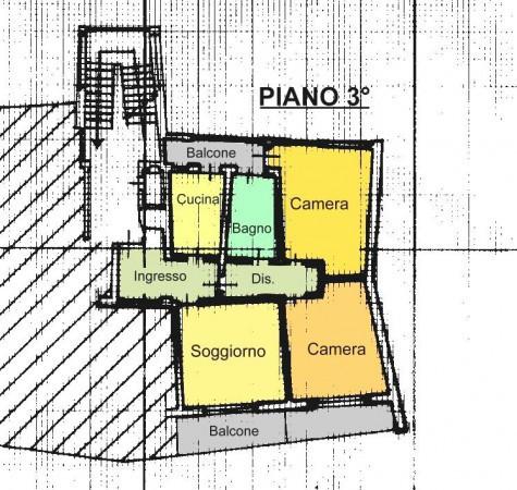 foto Planimetria Trilocale via Giulio Cappellaro 34, Sagliano Micca